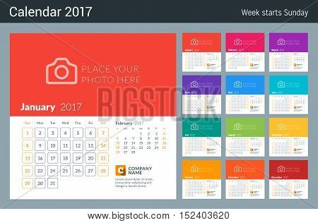 Calendar For 2017 Year. Week Starts Sunday. 2 Months On Page. Vector Design Print Template With Plac