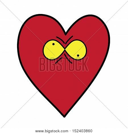 Heart with eyes on white background. Funny vector illustration