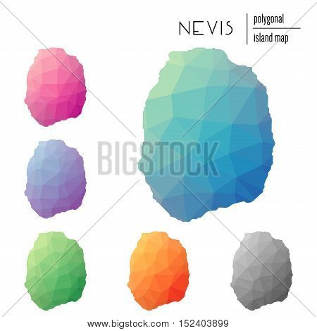 Set Of Vector Polygonal Nevis Maps Filled With Bright Gradient Of Low Poly Art. Multicolored Island
