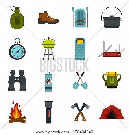 Camping equipment icons set. Flat illustration of 16 camping equipment vector icons for web