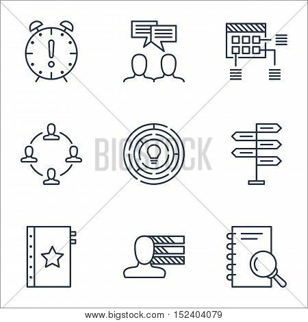 Set Of Project Management Icons On Innovation, Personal Skills And Collaboration Topics. Editable Ve