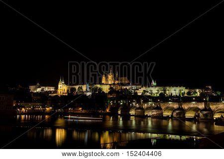 Prague Castle, Charles Bridge and the Vltava River at night