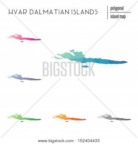 Set Of Vector Polygonal Hvar & Dalmatian Islands Maps Filled With Bright Gradient Of Low Poly Art. M