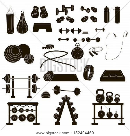 Vector illustration of sports, fitness, gym or crossfit equipments dumbbells, mat, yoga, bar, fitness tracker, stopwatch.Elements for design website about sport, crossfit or fitness, healthy lifestyle
