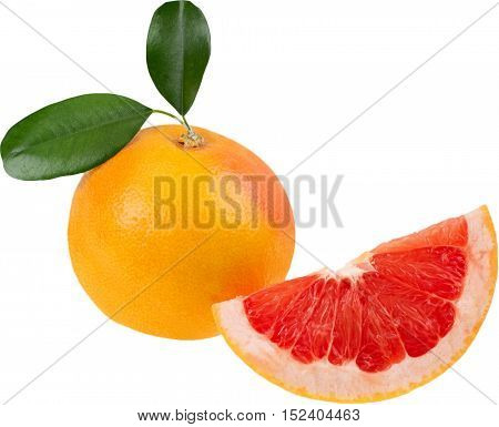 Half of a grapefruit and a wedge of grapefruit