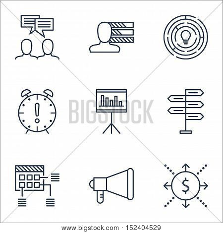 Set Of Project Management Icons On Innovation, Presentation And Personal Skills Topics. Editable Vec