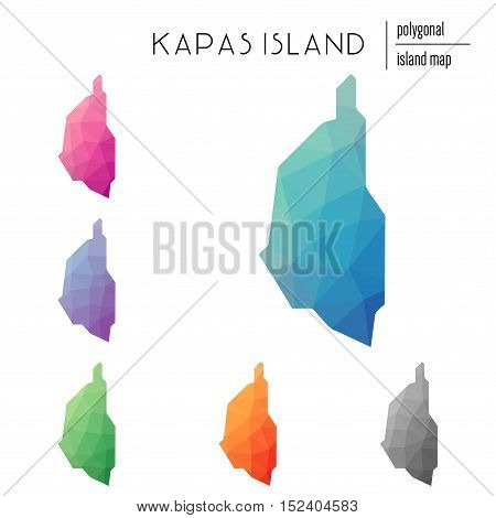 Set Of Vector Polygonal Kapas Island Maps Filled With Bright Gradient Of Low Poly Art. Multicolored