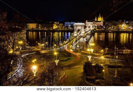 Chain bridge and St. Stephen night view, Budapest, Hungary