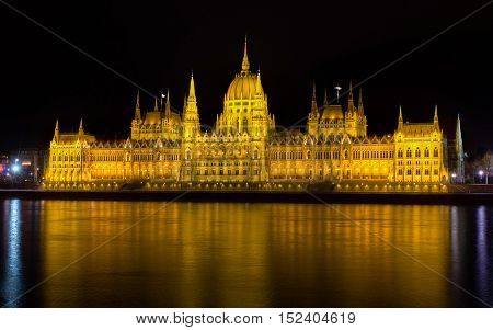 The Budapest parliament building at night, Hungary