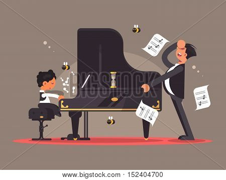 Piano tutor teaches young talent playing instrument. Vector flat illustration