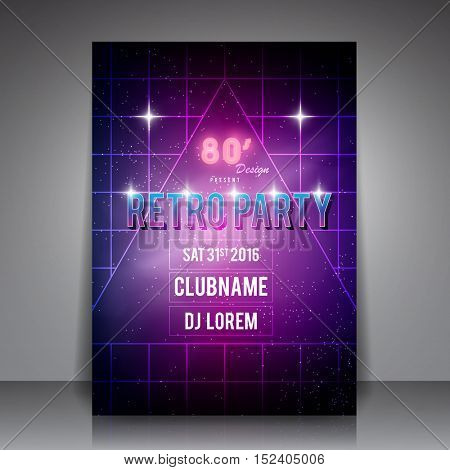 80's Style Party Flyer - Retro Poster Vector Background
