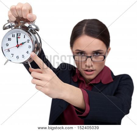 Businesswoman Pointing with Finger at Alarm Clock - Isolated