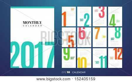Wall or table office Monthly Calendar for the year 2017. Vector eps10 template with vertical pages.