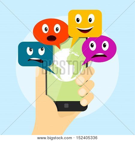 picture of human hand holding mobile phone with speech bubbles with different emotions mobile communication and social network concept flat style illustration