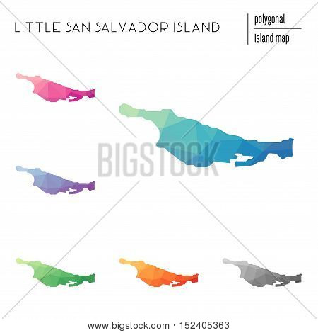 Set Of Vector Polygonal Little San Salvador Island Maps Filled With Bright Gradient Of Low Poly Art.