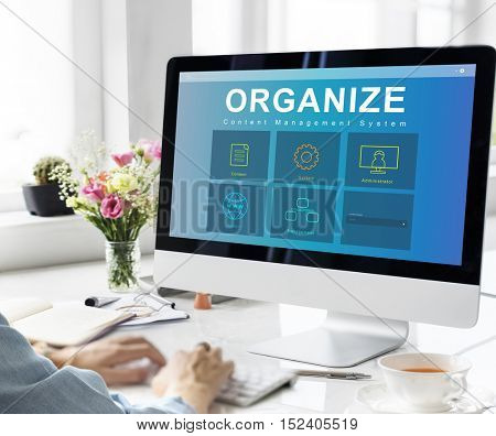 System Content Management SEO Application Graphic Concept