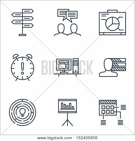 Set Of Project Management Icons On Time Management, Discussion And Presentation Topics. Editable Vec
