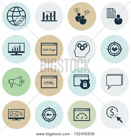 Set Of Advertising Icons On Connectivity, Media Campaign And Ppc Topics. Editable Vector Illustratio