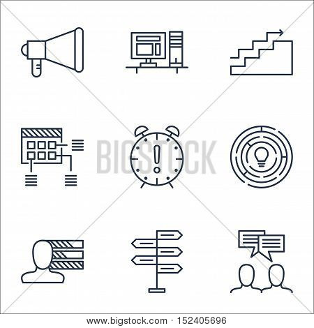 Set Of Project Management Icons On Time Management, Computer And Growth Topics. Editable Vector Illu