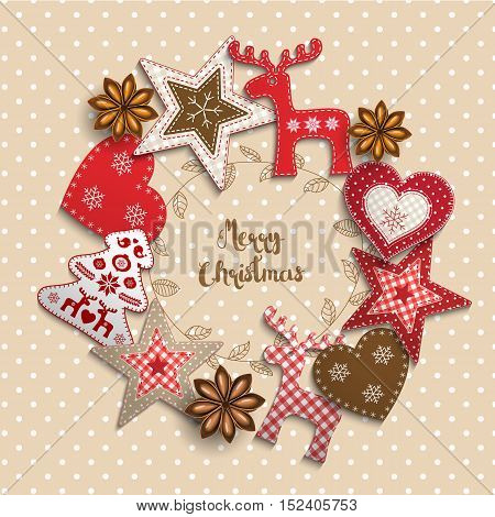 Christmas background, small scandinavian styled red decorations lying on beige polka dotted backdrop, inspired by flat lay style, with text Merry christmas, framed by abstract leaf wreath, vector illustration, eps 10 with transparency