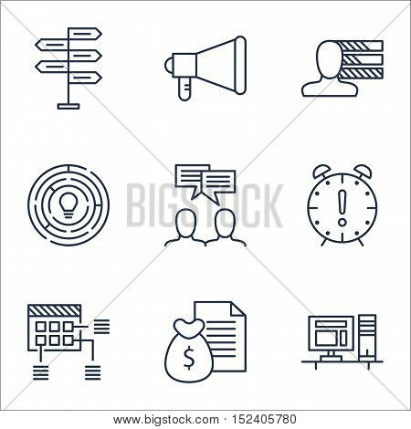 Set Of Project Management Icons On Time Management, Innovation And Announcement Topics. Editable Vec