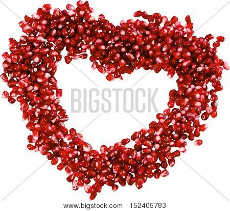 Pomegranate seeds in the shape of a heart