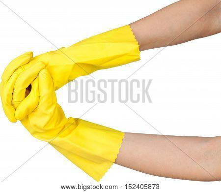 hand doing hand gestures while wearing a rubber gloves