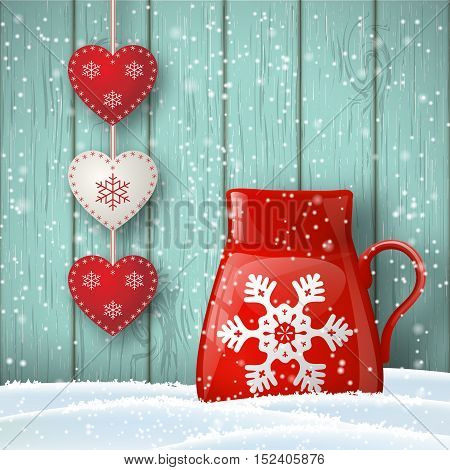 Christmas theme, red cup in snow with cute decoration in front of blue wooden wall, illustration