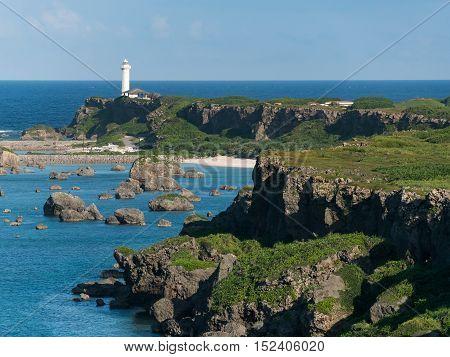 Cape of Higashi Henna Zaki of Miyako Island in Okinawa, Japan.