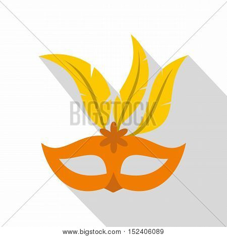 Orange carnival mask icon. Flat illustration of carnival mask vector icon for web isolated on white background