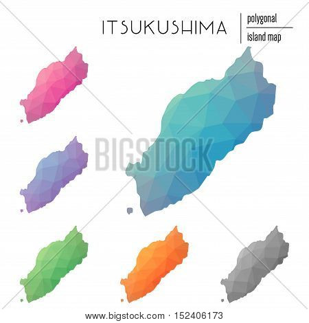 Set Of Vector Polygonal Itsukushima Maps Filled With Bright Gradient Of Low Poly Art. Multicolored I