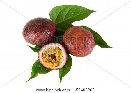Passion fruit fresh isolated on white with work paths