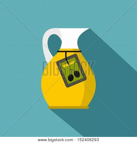 Jug with olive oil icon. Flat illustration of jug with olive oil vector icon for web