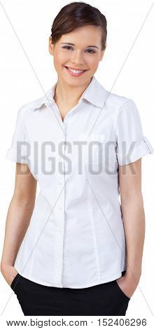 Happy Businesswoman Standing with Hands in Pockets - Isolated