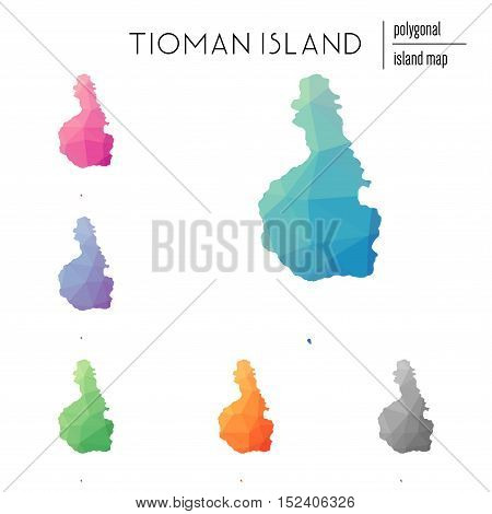 Set Of Vector Polygonal Tioman Island Maps Filled With Bright Gradient Of Low Poly Art. Multicolored