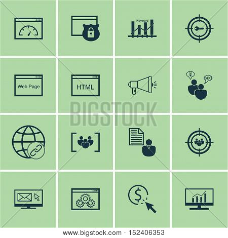 Set Of Marketing Icons On Report, Keyword Marketing And Website Performance Topics. Editable Vector