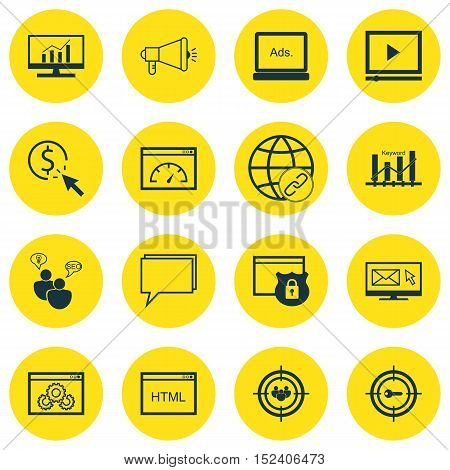Set Of Seo Icons On Newsletter, Digital Media And Coding Topics. Editable Vector Illustration. Inclu