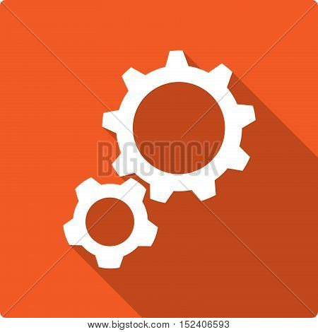 Settings Gears Flat Icon. A vector flat icon of 2 gears.