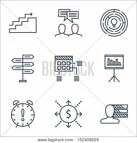 Set Of Project Management Icons On Discussion, Money And Personal Skills Topics. Editable Vector Ill