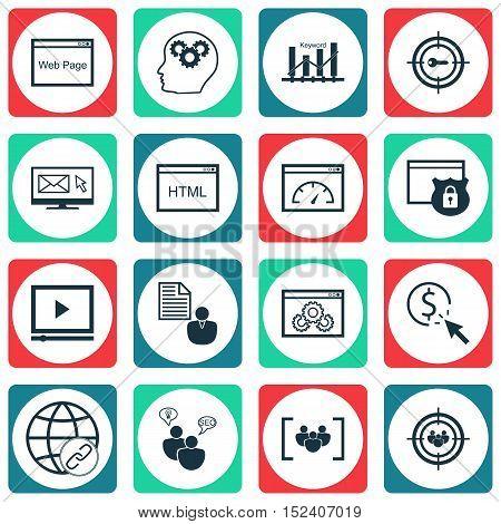 Set Of Marketing Icons On Brain Process, Keyword Optimisation And Connectivity Topics. Editable Vect