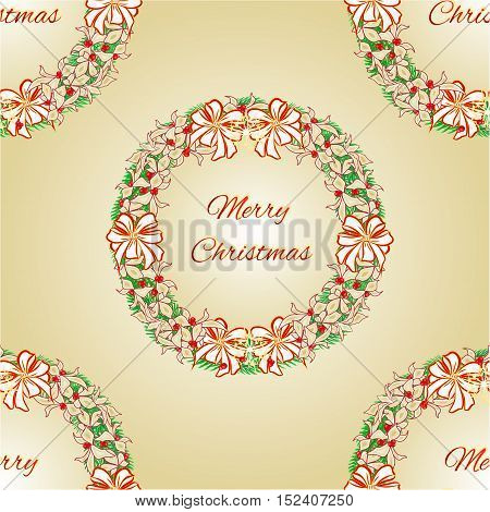 Seamless texture Merry Christmas Wreath with white ribbons and poinsettia vector illustration