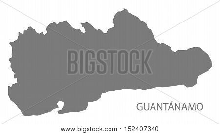 Guantanamo Province in Cuba Map grey illustration high res