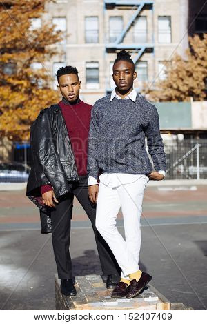 Two young men with fashionable clothing in New York city