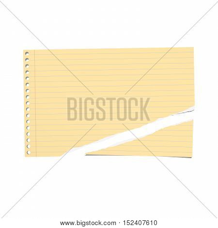 Beige, yellow ripped ruled note, notebook paper on gray background.