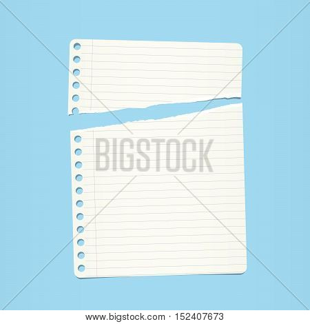 White ripped ruled note, notebook paper on blue background.