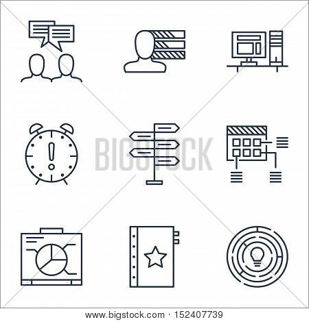 Set Of Project Management Icons On Time Management, Innovation And Warranty Topics. Editable Vector