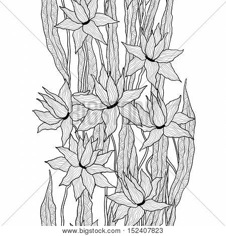 Seamless vector floral pattern. Royal lilies flowers with stylized doodle leaves. Black and white graphics.