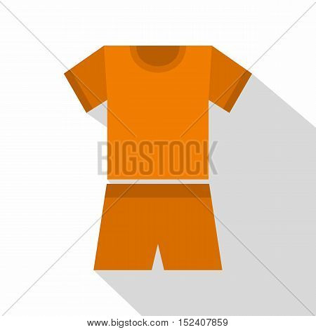 Sport orange shirt and shorts icon. Flat illustration of sport shirt and shorts vector icon for web isolated on white background