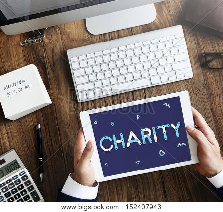 Charity Volunteer Helping Nonprofit Concept
