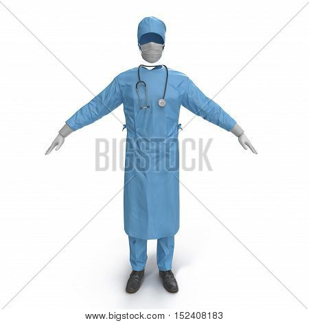 Front view blue doctor uniform stained with blood isolated on white background. No people. 3D illustration
